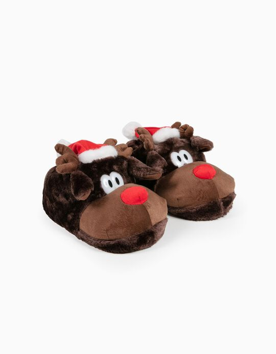 Reindeer Slippers with Father Christmas Hat