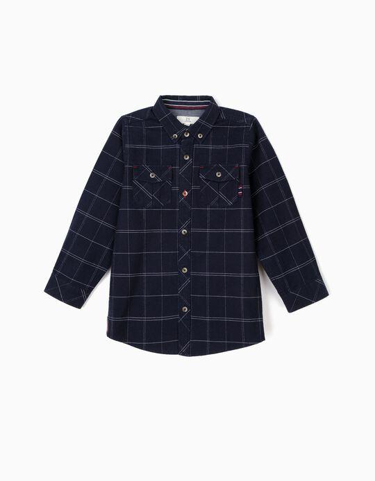Camisa para Menino Quadrados, Azul Escuro