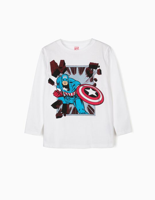 Long Sleeve Top for Boys, 'Captain America', White