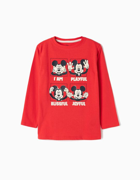 Long-sleeve Top for Boys 'Mickey', Red