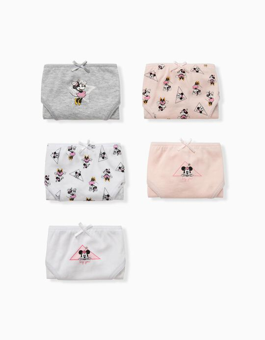 5 Briefs for Girls, 'Minnie Mouse', Pink/White/Grey