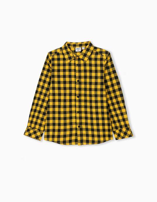 Camisa Quadrados, Criança, Amarelo/ Preto