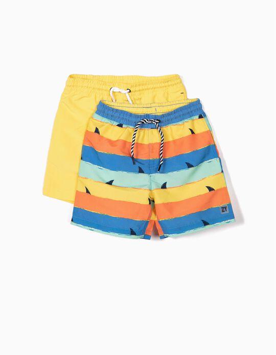 2 Calções de Banho para Menino 'Sharks', Amarelo