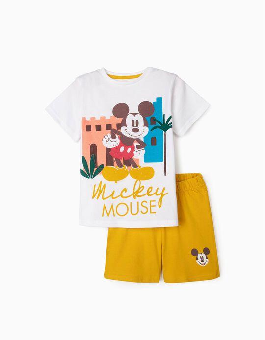 Organic Cotton Pyjamas for Boys, 'Mickey', White/Yellow