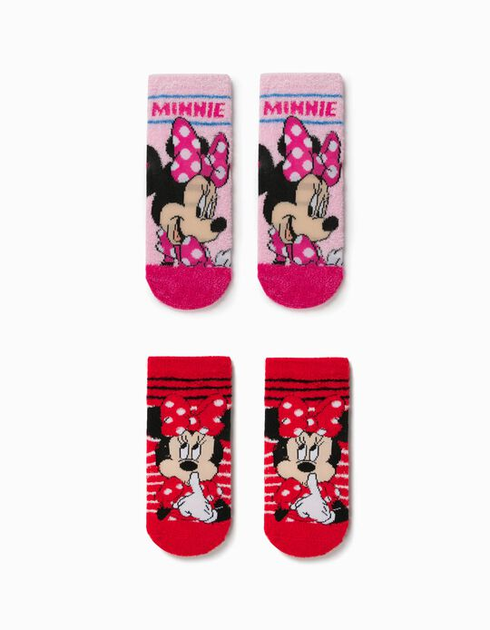 2 Pairs of Non-slip Socks for Girls, 'Minnie Mouse', Pink/Red