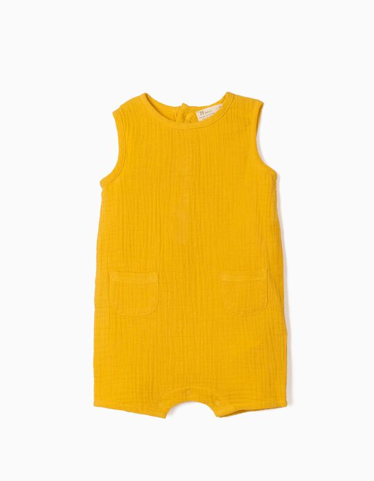 Textured Jumpsuit for Newborn Baby Boys, Yellow