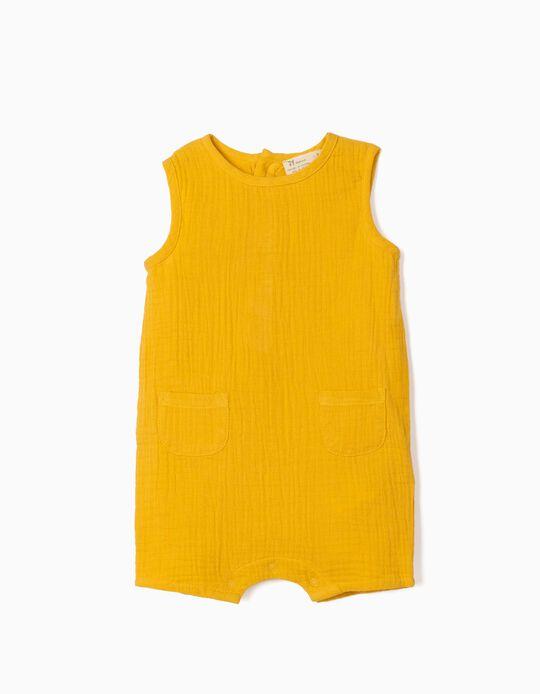 Macacão com Textura para Recém-Nascido, Amarelo