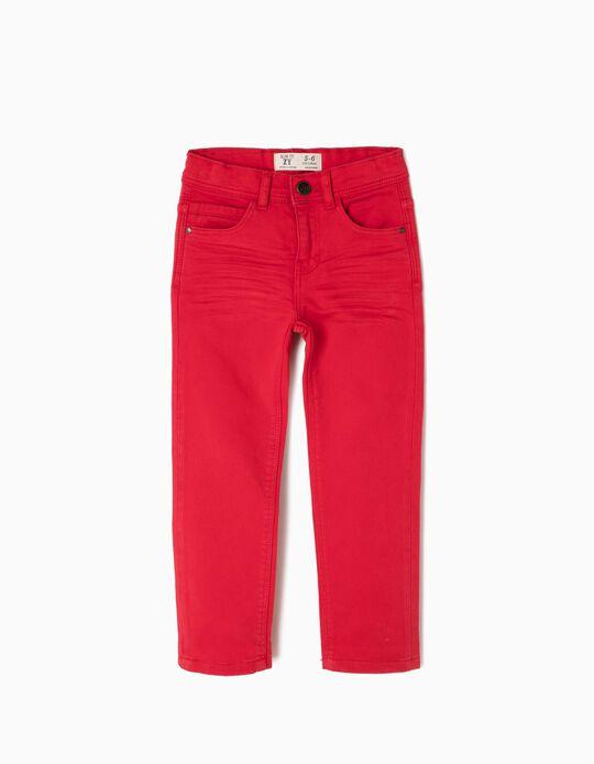 Calças Slim Fit Vermelhas