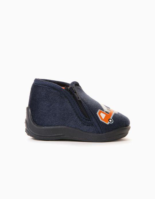 Slippers with Zip, Babies, Dark Blue
