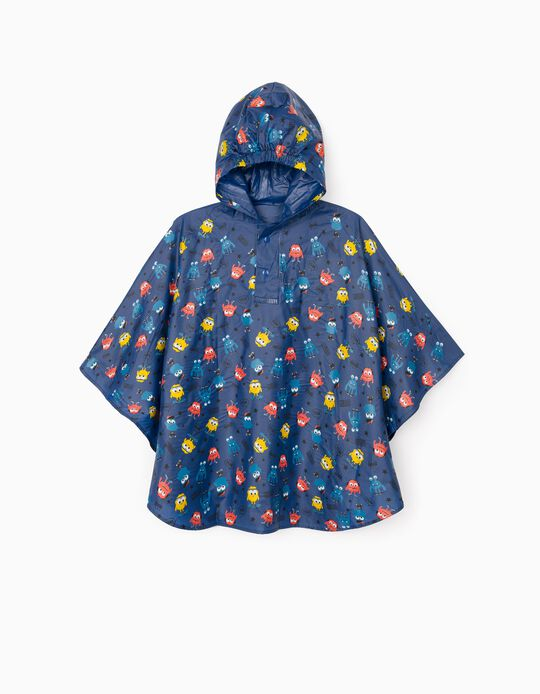 Poncho Rain Cape for Boys 'Monsters', Blue