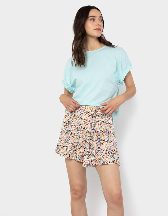 T-shirt with Elasticated Sleeves, Blue