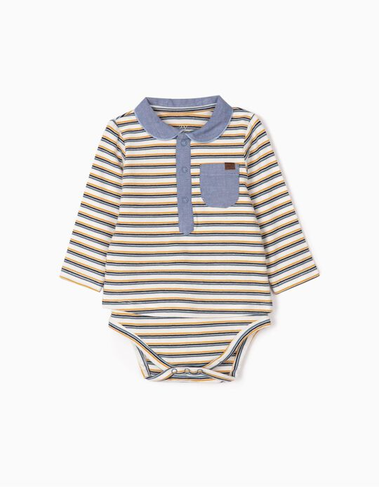 Bodysuit Polo Shirt for Newborn Boys 'Stripes', White/Blue