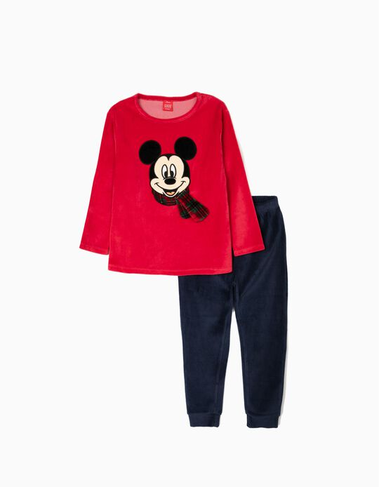 Velvet Pyjamas for Boys 'Mickey Christmas', Red/Dark Blue