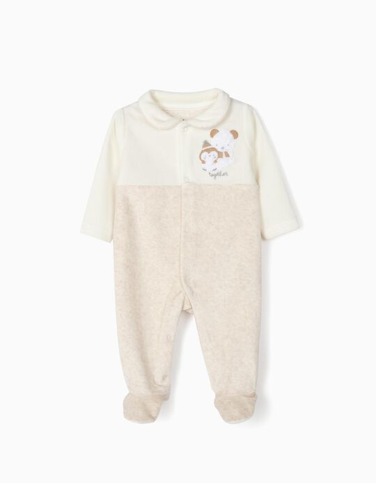 Velvet Sleepsuit for Newborn 'Fox', Beige/White