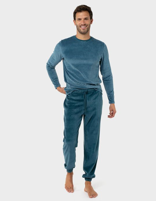 Conjunto de pijama polar riscas