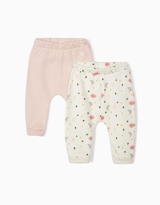 2 Trousers for Newborn Baby Girls 'Night Sky', White/Pink