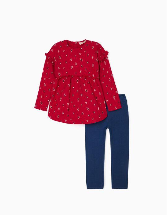 Tunic + Leggings for Girls, Red/Dark Blue
