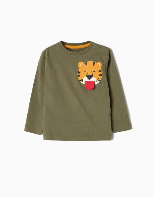 T-shirt Manga Comprida para Bebé Menino 'Cool Tiger', Verde