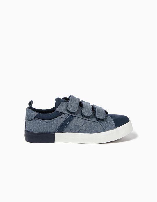 Sapatilhas de Tecido para Menino com Velcro, Azul