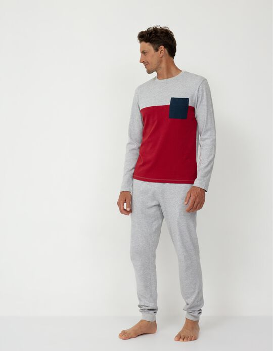 Pijama Bicolor, Homem, Cinza/ Vermelho