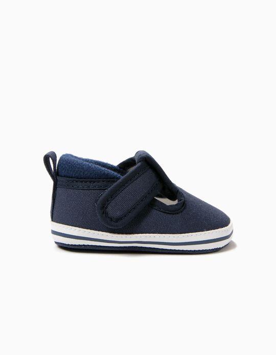 Sapatos para Recém-Nascido com Velcro, Azul Escuro