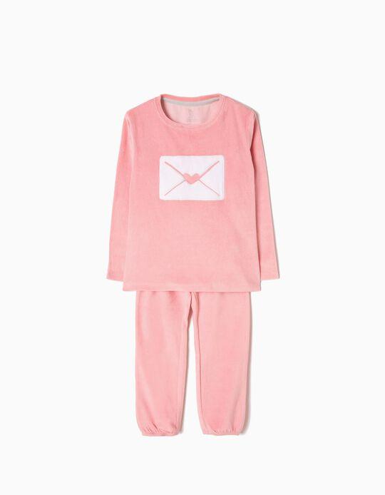 Pijama Veludo Letter Rosa