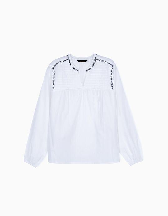 Long Sleeve White Blouse for Women