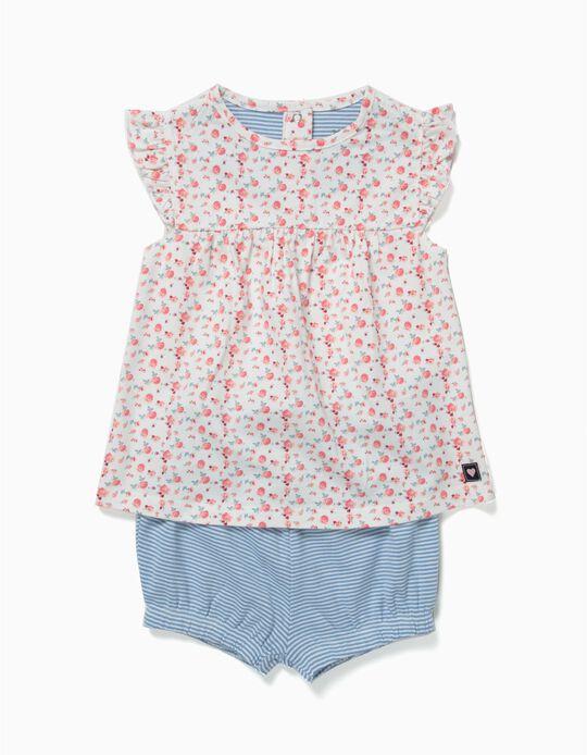 Pijama Flores e Riscas