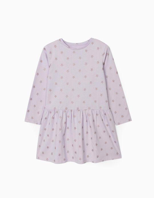 Jersey Knit Dress for Girls, 'Stars', Lilac