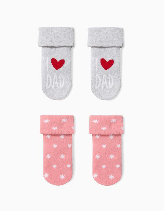 Pack 2 Meias para Bebé Menina 'Dad',  Cinza e Rosa