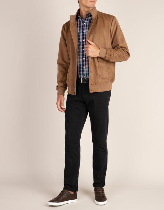 Camel bomber-type suede jacket