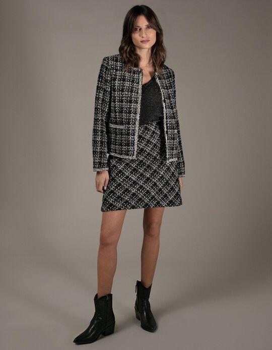 Chequered tweed mini skirt