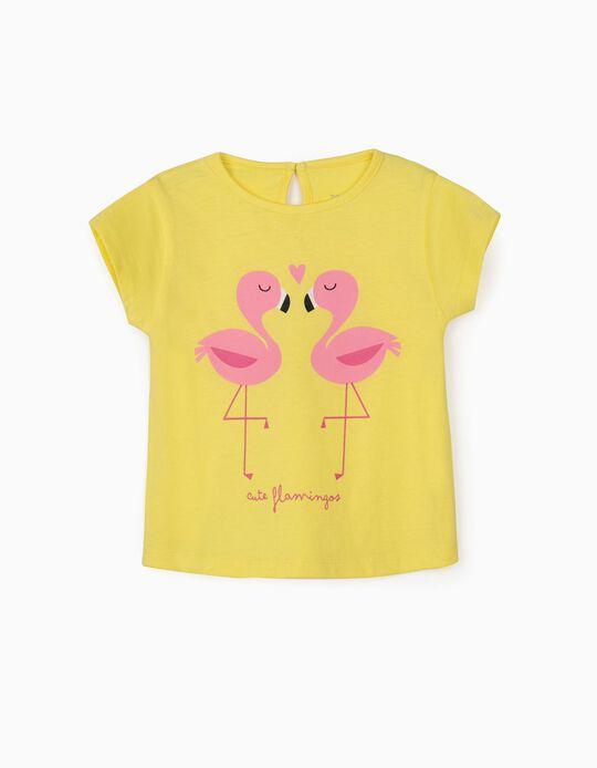T-shirt para Bebé Menina Cute Flamingos', Amarelo
