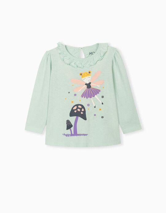 Long Sleeve Top for Baby Girls, Aqua Green