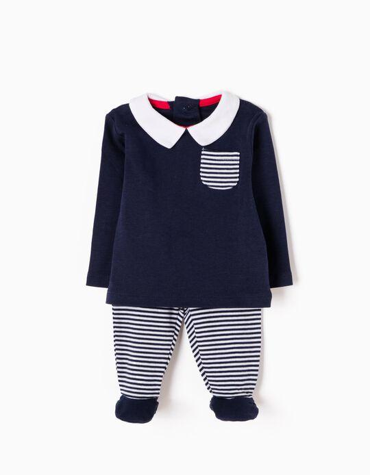 Pijama Manga Comprida e Calças com Pés Riscas