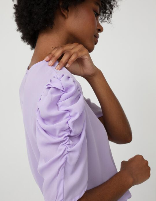 Blouse, Gathered Shoulders, Women, Lilac