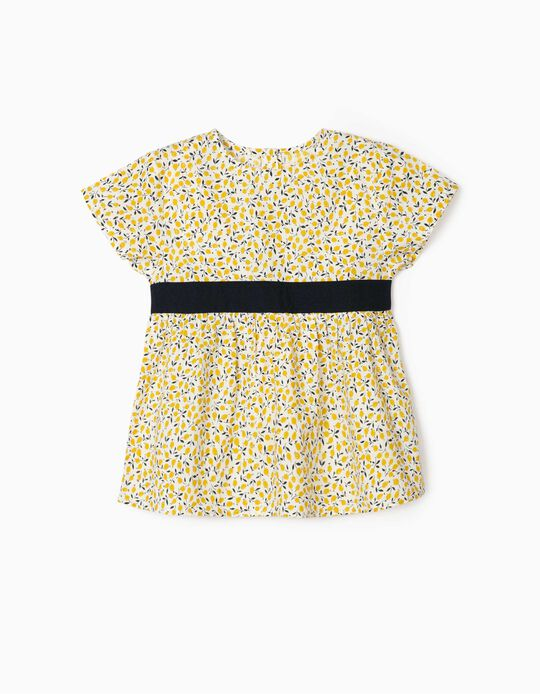 Blouse for Girls, 'Lemons', White/Yellow/Blue