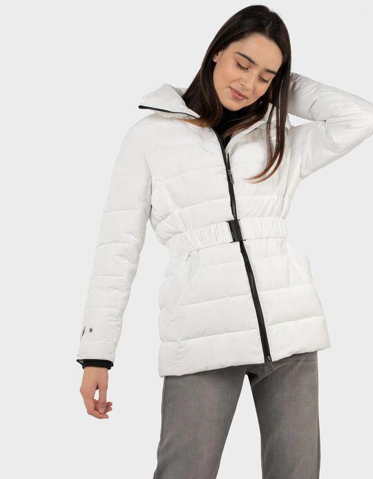 Padded jacket with belt