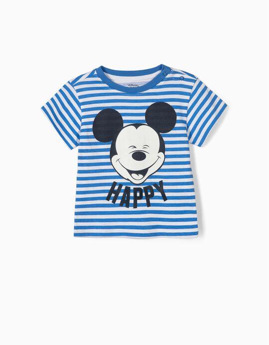 T-shirt para Bebé Menino 'Happy Mickey', Azul e Branco