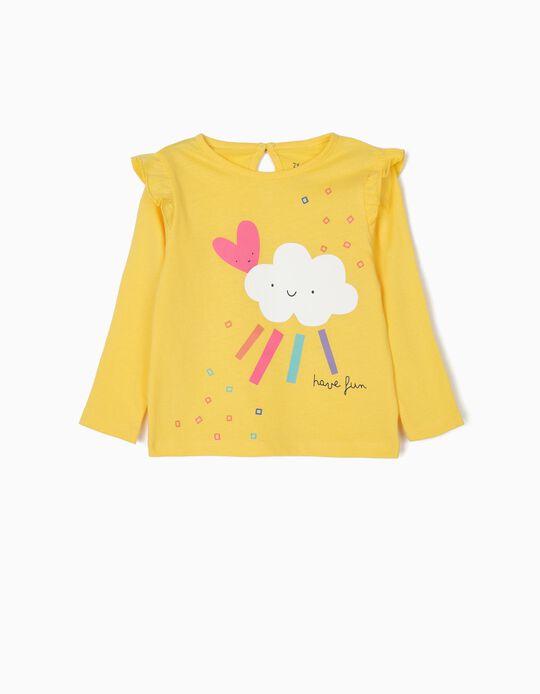 T-shirt de Manga Comprida para Bebé Menina 'Have Fun', Amarelo