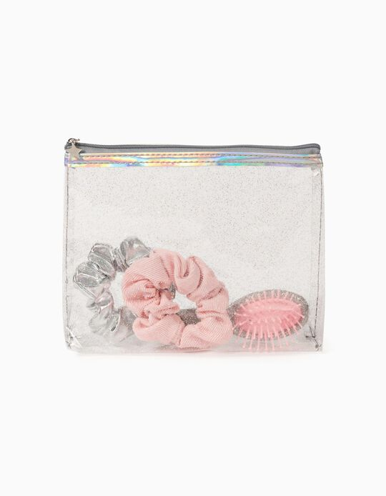 Toiletry Bag with Hair Accessories for Girl 'Glitter', Transparent/Silver