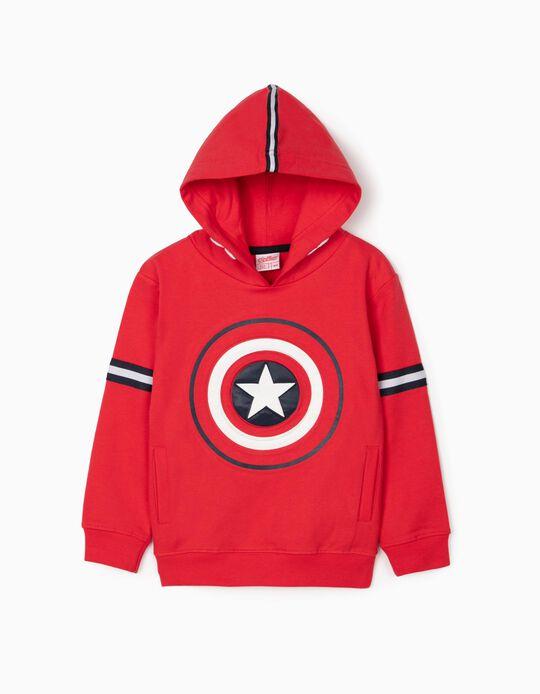 Sweatshirt com Capuz para Menino 'Captain America', Vermelho