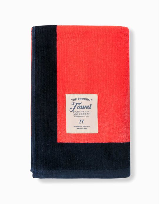 Beach Towel for Boys, 'The Perfect Towel', Coral/Dark Blue