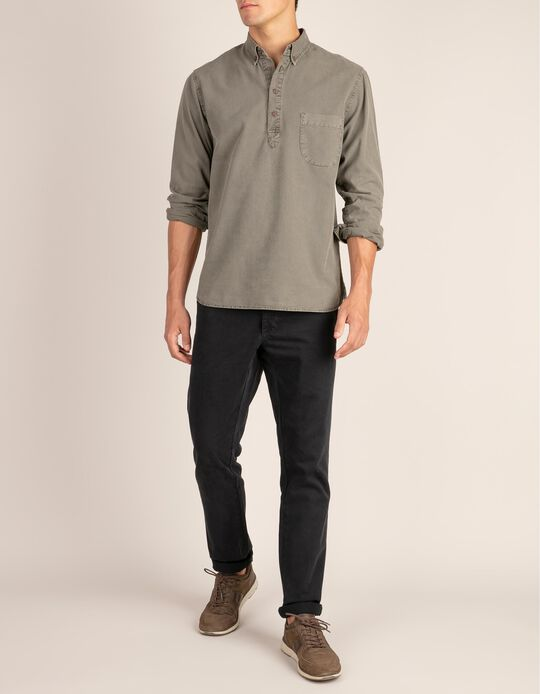Textured Fabric Shirt with Pocket