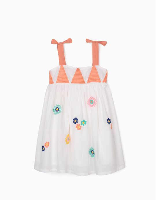 Strappy Dress with Embroideries for Baby Girls, White