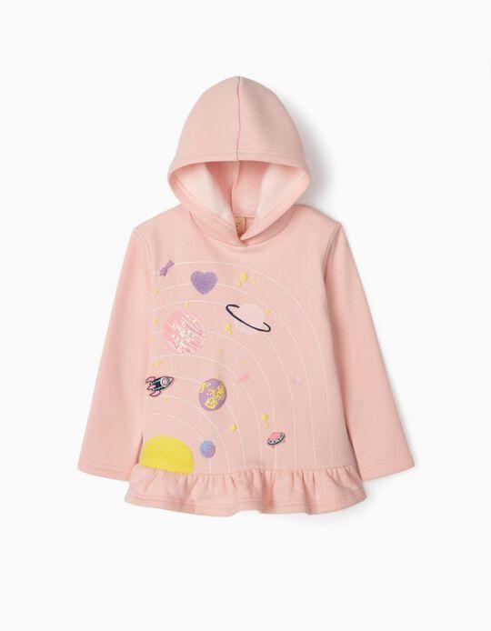 Sweatshirt com Capuz para Menina 'Solar System', Rosa