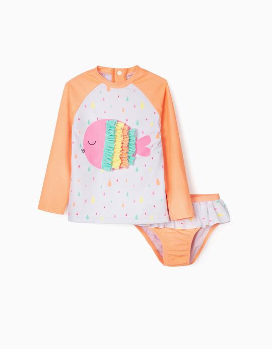 Conjunto de Banho Proteção UV 80 para Bebé Menina, Branco/Laranja