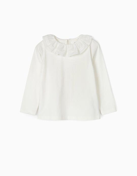 T-shirt Manga Comprida com Folho para Menina, Branco