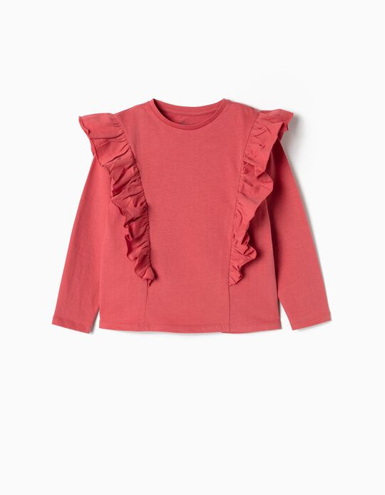 Long-Sleeve Top with Ruffles for Girls, Pink