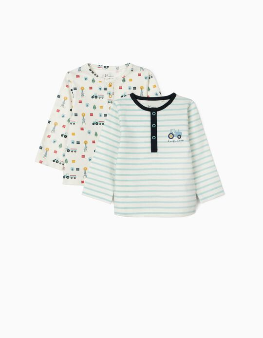 2 Tops for Newborn Baby Boys, 'Tractor', White/Pink